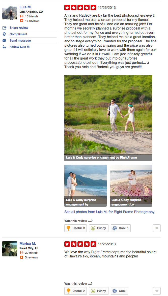 Oahu Wedding Photographer reviews