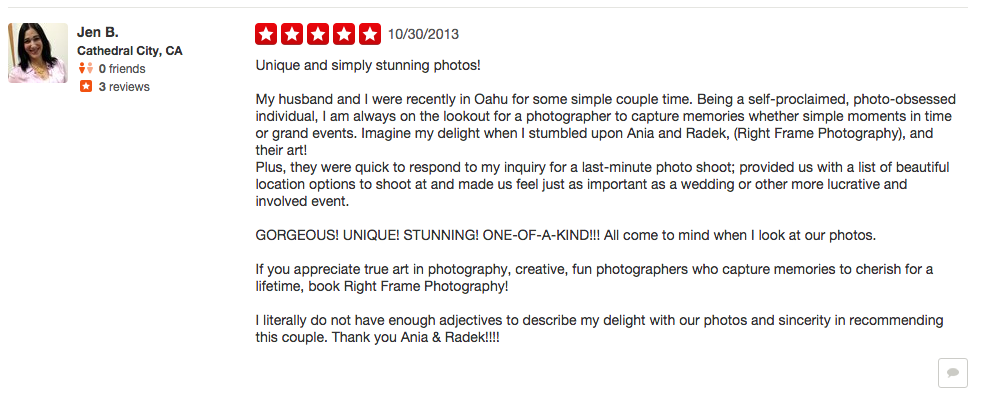 Oahu Wedding Photographer reviews