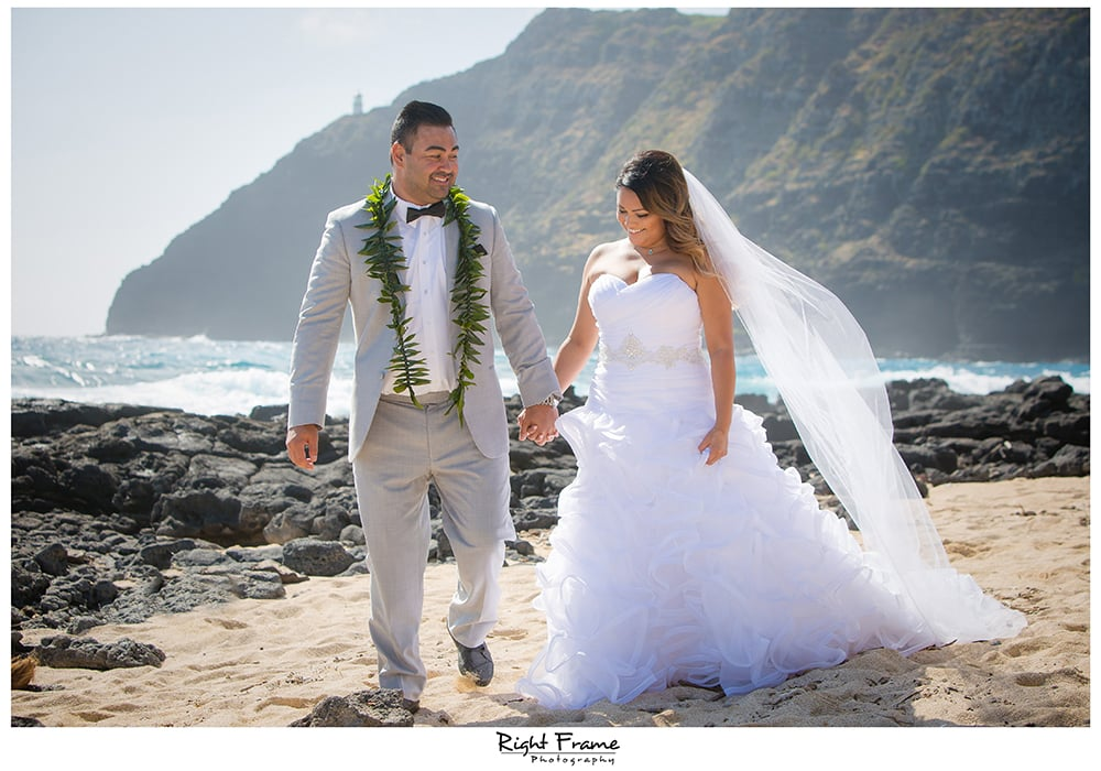 Beach Wedding Ceremony Oahu: Makapuu Beach Wedding By RIGHT FRAME PHOTOGRAPHY