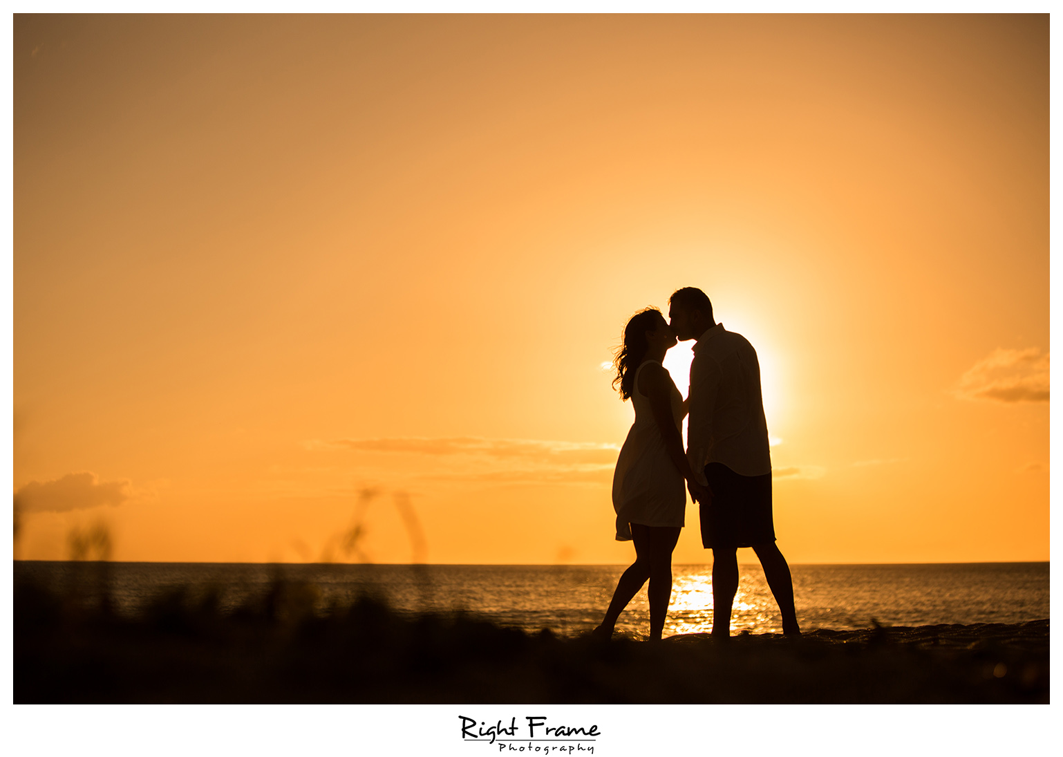 Romantic Sunset Beach Engagement Photography Oahu Hawaii