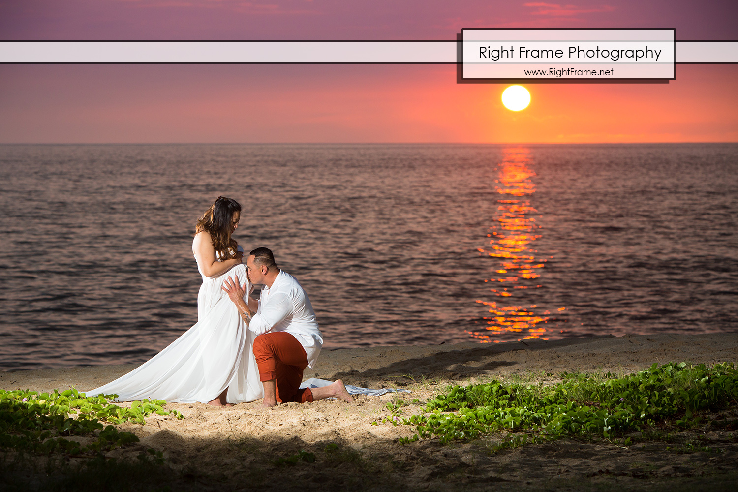 Sunset Maternity Pictures Hawaii Oahu