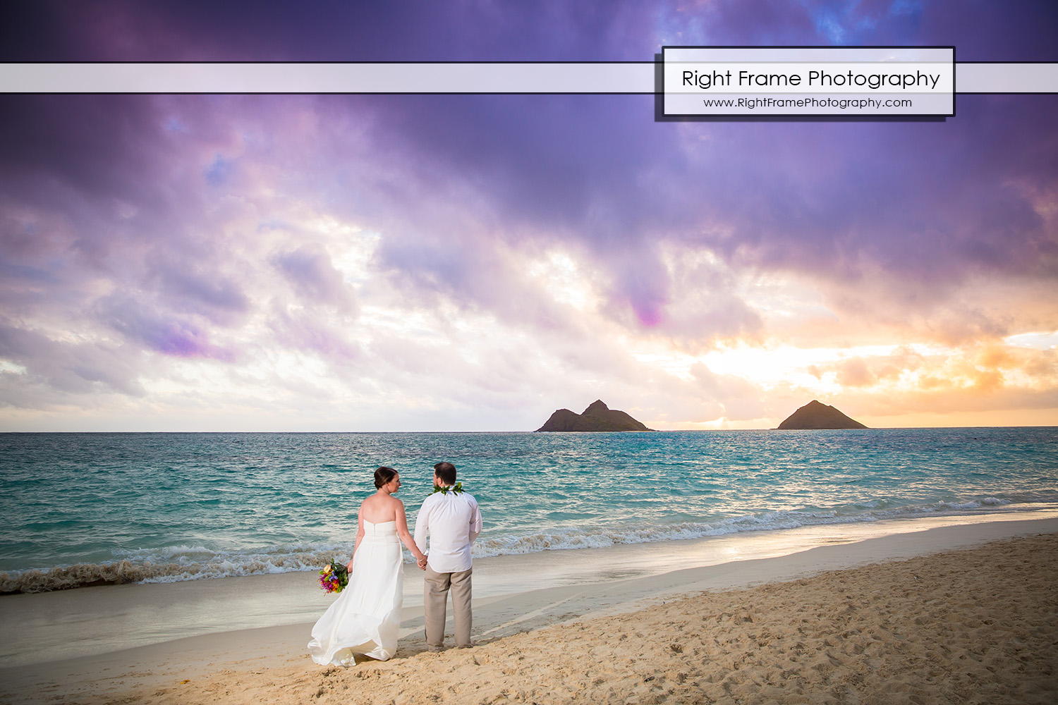 sunrise wedding at lanikai beach oahu hawaii by right frame
