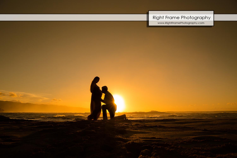 Sunset Maternity Photos Oahu Papailoa Beach
