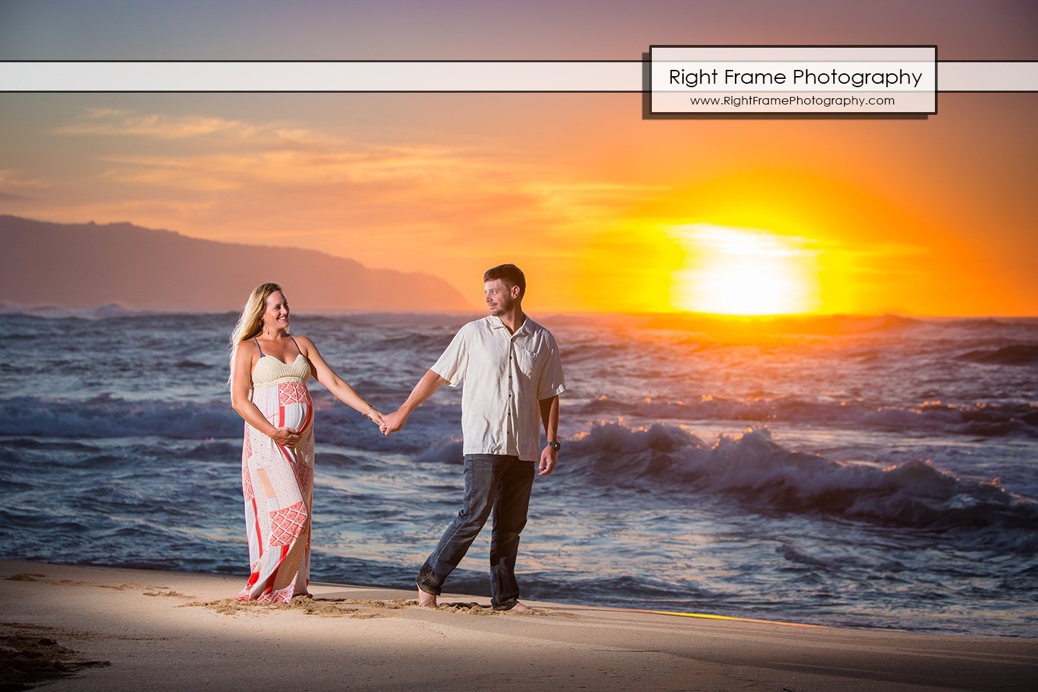Sunset Maternity Photos Oahu Papailoa Beach