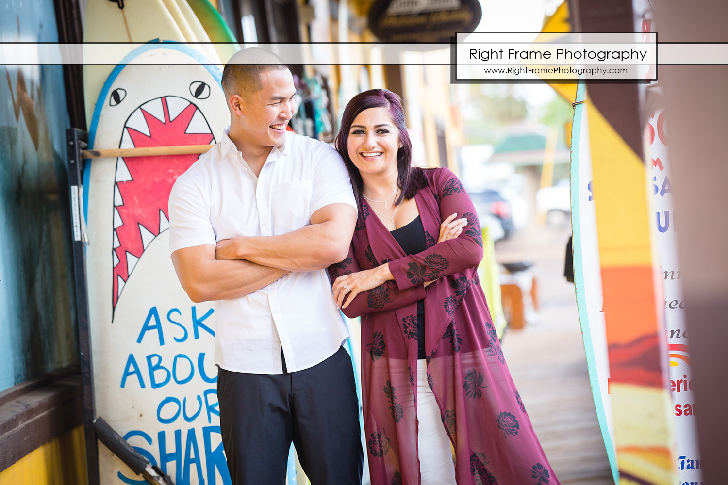 Engagement Pictures in Haleiwa Town Oahu