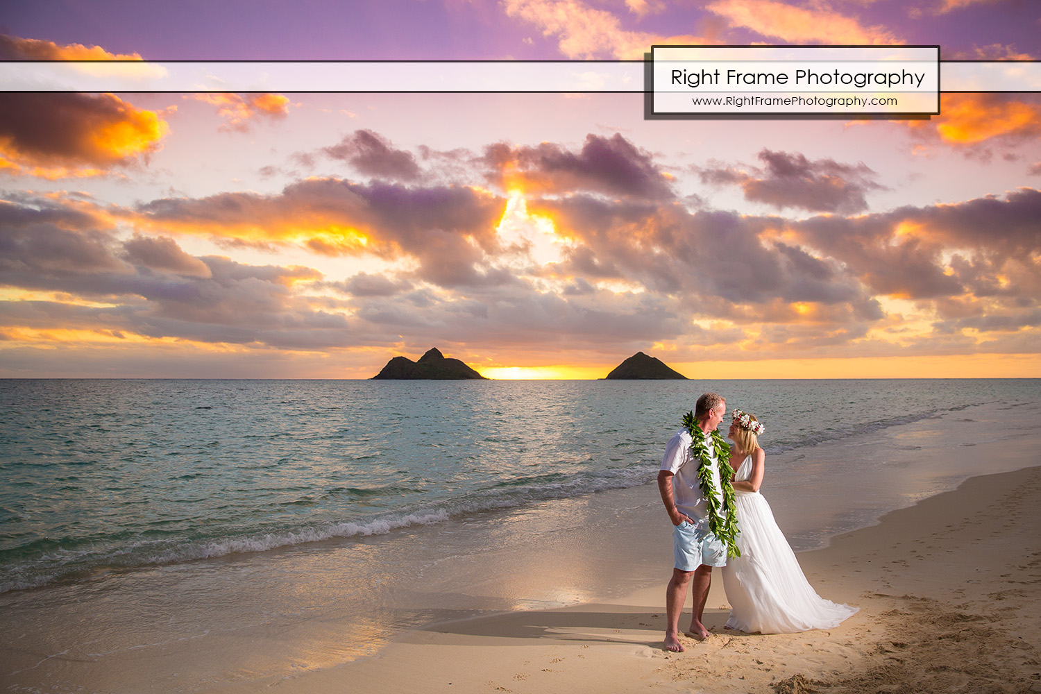 sunrise vow renewal in lanikai beach oahu hi by right frame