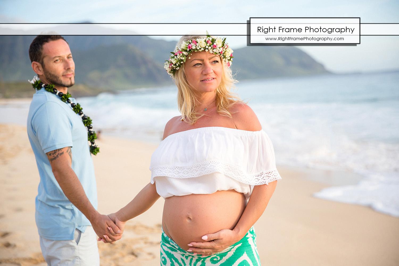 Oahu Sunset Maternity Session at Yokohama Bay