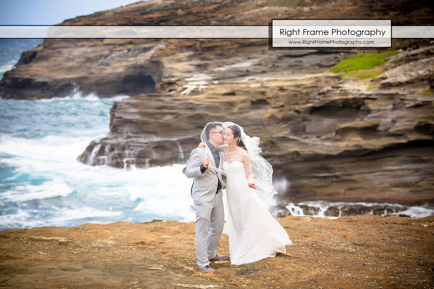 Hawaii Beach Wedding Photos Lanai Lookout Heaven's Point