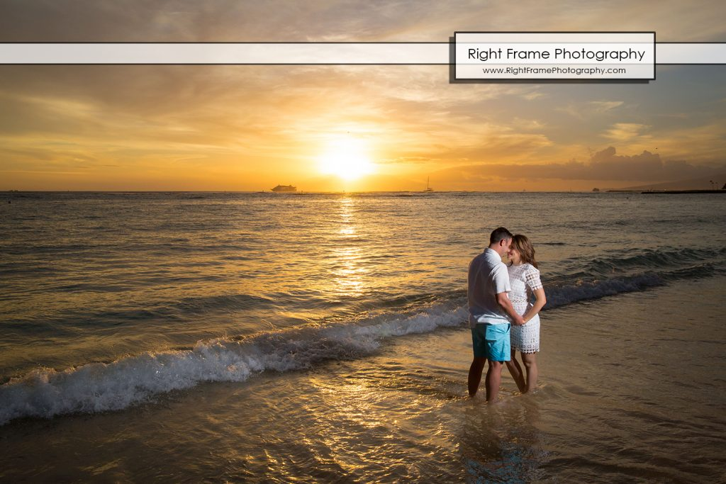 Sunset Surprise Proposal Waikiki Beach Oahu
