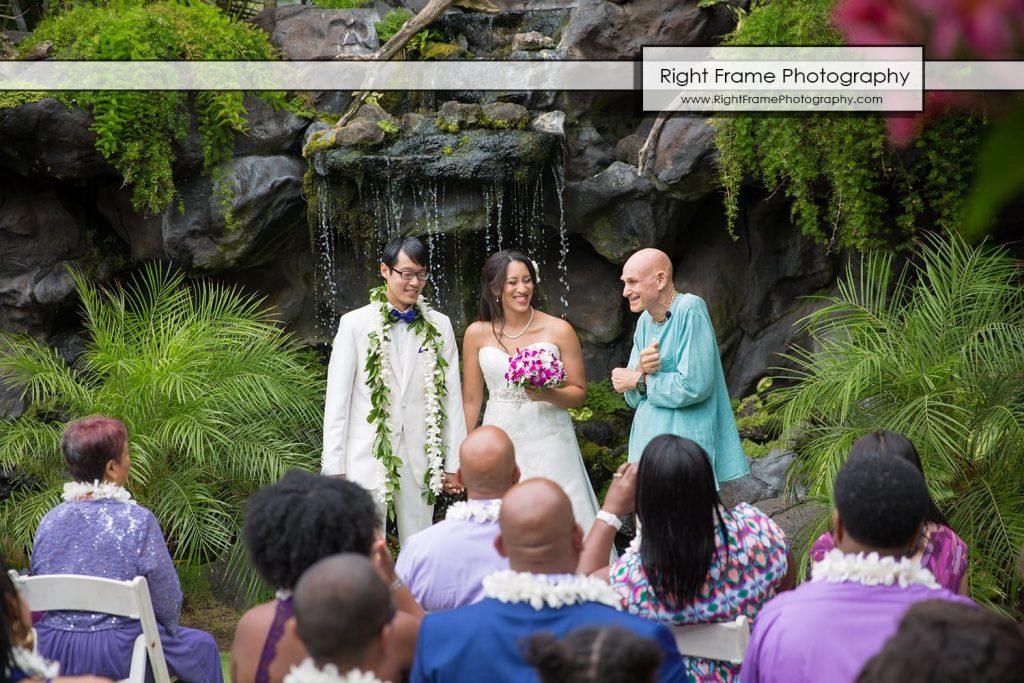 Oahu Waterfall Wedding at Pukalani Falls Garden captain howie hawaii