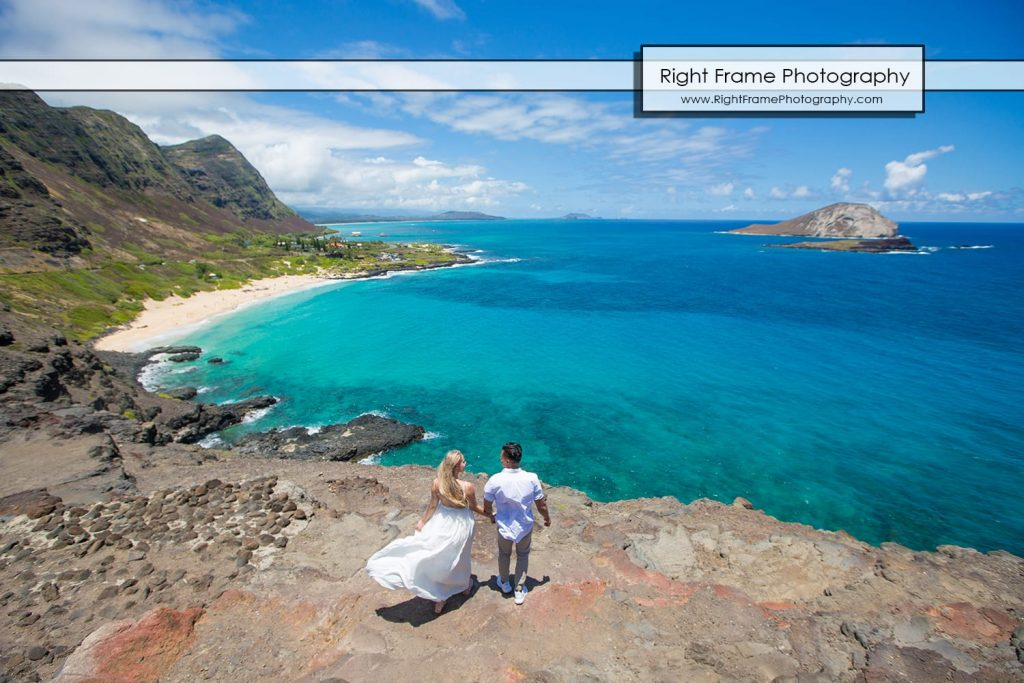 Engagement Photos Oahu Makapuu Beach Lookout Hawaii