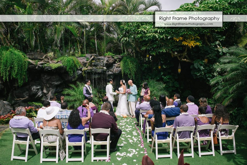 Oahu Waterfall Wedding at Pukalani Falls Garden captain howie hawaii Hobbit House