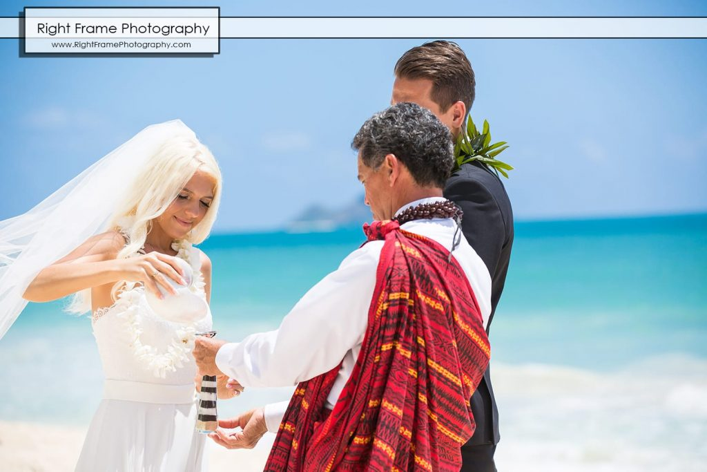 Small and Intimate Oahu Wedding at Waimanalo Bay Sherwood Forest Hawaii Reverend Kimo Taylor sand ceremony