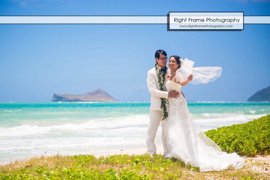 Oahu Waterfall Wedding Angels Bay Beach