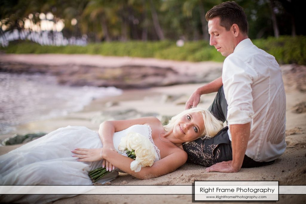 Small and Intimate Oahu Wedding at secret beach koolina Hawaii