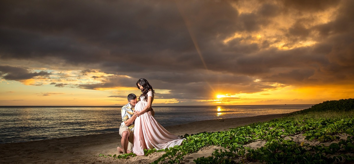 Sunset Maternity Pregnancy Beach Photographer Oahu Hawaii